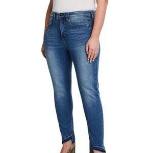 New Seven7 Jeans Tummyless Uneven-Hem Skinny Jeans
